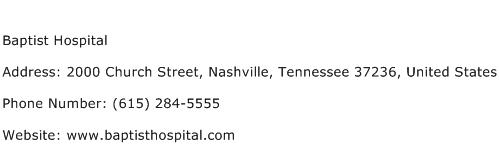 Baptist Hospital Address Contact Number