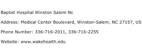 Baptist Hospital Winston Salem Nc Address Contact Number