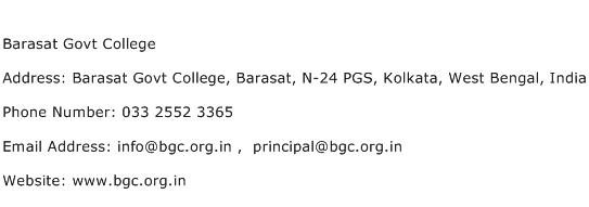 Barasat Govt College Address Contact Number