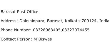 Barasat Post Office Address Contact Number