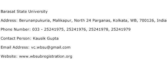 Barasat State University Address Contact Number