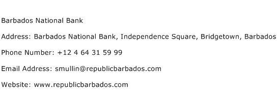 Barbados National Bank Address Contact Number