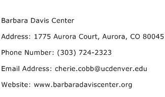 Barbara Davis Center Address Contact Number