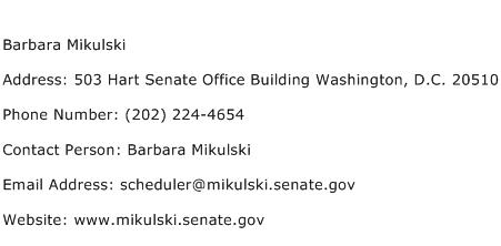 Barbara Mikulski Address Contact Number