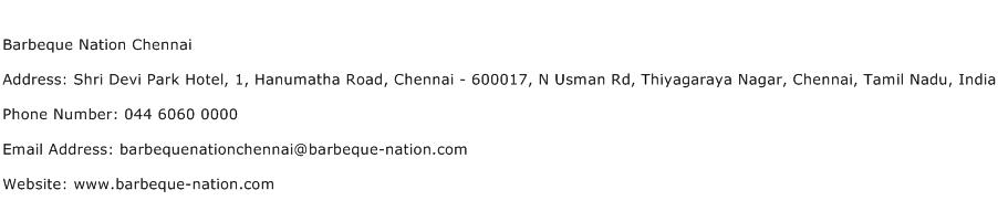 Barbeque Nation Chennai Address Contact Number