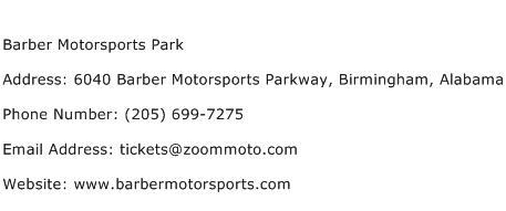 Barber Motorsports Park Address Contact Number