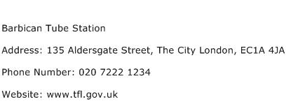 Barbican Tube Station Address Contact Number