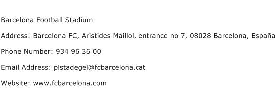 Barcelona Football Stadium Address Contact Number