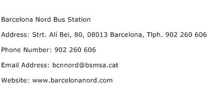 Barcelona Nord Bus Station Address Contact Number