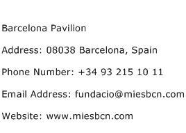 Barcelona Pavilion Address Contact Number