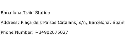 Barcelona Train Station Address Contact Number