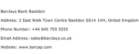 Barclays Bank Basildon Address Contact Number