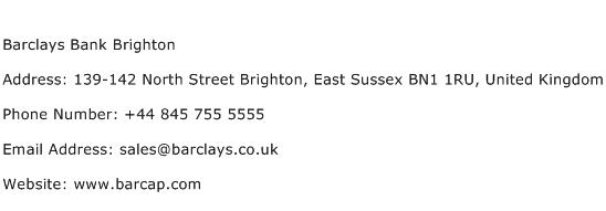 Barclays Bank Brighton Address Contact Number