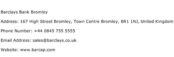 Barclays Bank Bromley Address Contact Number