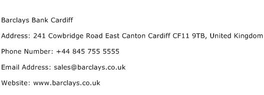Barclays Bank Cardiff Address Contact Number