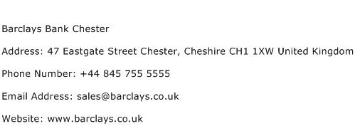 Barclays Bank Chester Address Contact Number