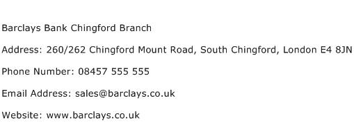 Barclays Bank Chingford Branch Address Contact Number