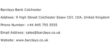 Barclays Bank Colchester Address Contact Number