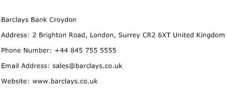 Barclays Bank Croydon Address Contact Number