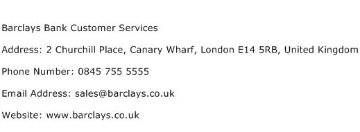 Barclays Bank Customer Services Address Contact Number