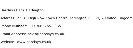 Barclays Bank Darlington Address Contact Number