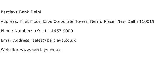 Barclays Bank Delhi Address Contact Number
