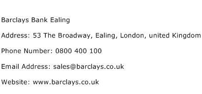 Barclays Bank Ealing Address Contact Number