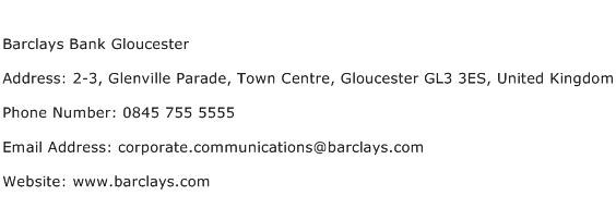 Barclays Bank Gloucester Address Contact Number