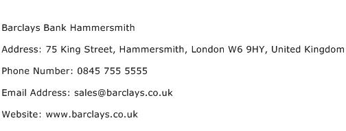 Barclays Bank Hammersmith Address Contact Number