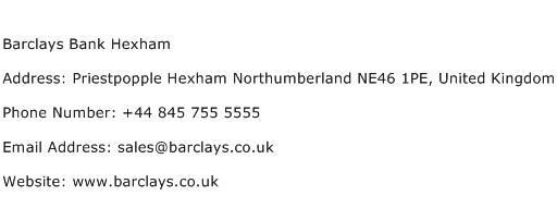 Barclays Bank Hexham Address Contact Number