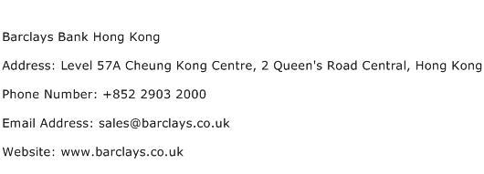 Barclays Bank Hong Kong Address Contact Number