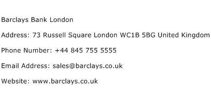 Barclays Bank London Address Contact Number