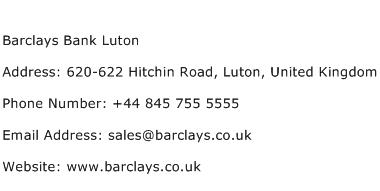 Barclays Bank Luton Address Contact Number