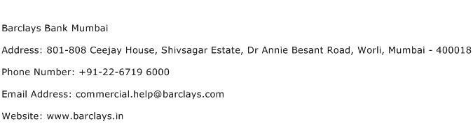 Barclays Bank Mumbai Address Contact Number
