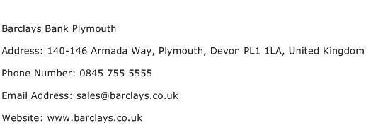 Barclays Bank Plymouth Address Contact Number