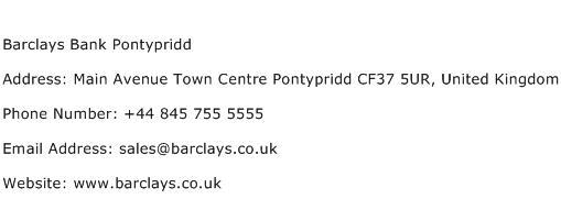Barclays Bank Pontypridd Address Contact Number