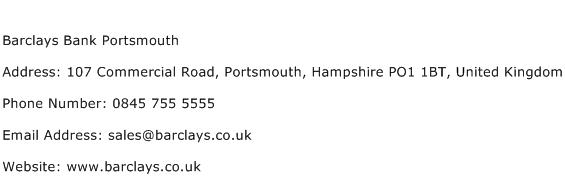 Barclays Bank Portsmouth Address Contact Number