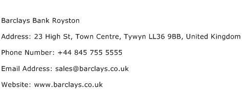 Barclays Bank Royston Address Contact Number