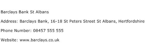 Barclays Bank St Albans Address Contact Number