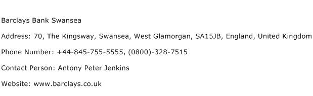 Barclays Bank Swansea Address Contact Number