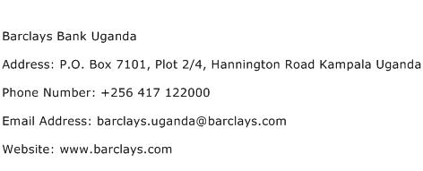 Barclays Bank Uganda Address Contact Number