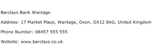 Barclays Bank Wantage Address Contact Number