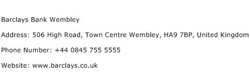 Barclays Bank Wembley Address Contact Number