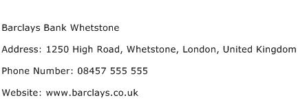 Barclays Bank Whetstone Address Contact Number