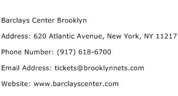 Barclays Center Brooklyn Address Contact Number