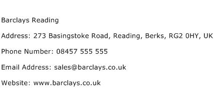 Barclays Reading Address Contact Number