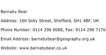 Barnaby Bear Address Contact Number
