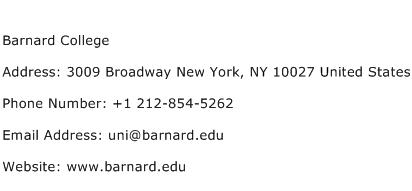 Barnard College Address Contact Number
