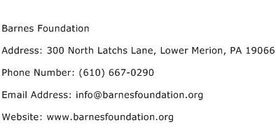 Barnes Foundation Address Contact Number