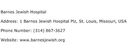 Barnes Jewish Hospital Address Contact Number